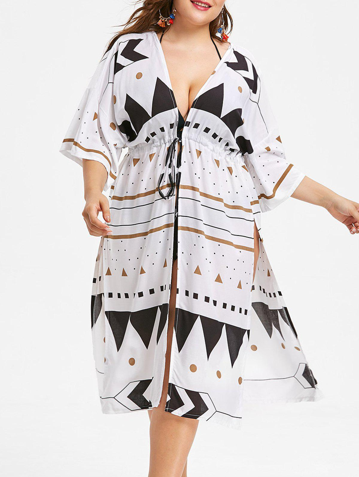 Unique Side Slit Plus Size Geometric Pattern Cover Up