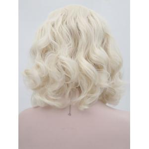 Short Deep Inclined Bang Body Wave Party Lace Front Synthetic Wig -