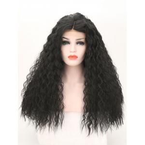 Long Center Parting Shaggy Corn Hot Wave Lace Front Synthetic Wig -