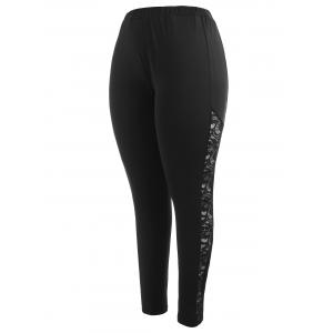 Lace Panel Plus Size Fitted Leggings -