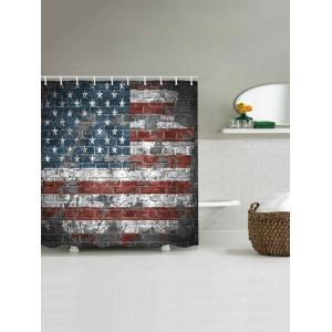 American Flag Brick Wall Print Waterproof Bathroom Shower Curtain -