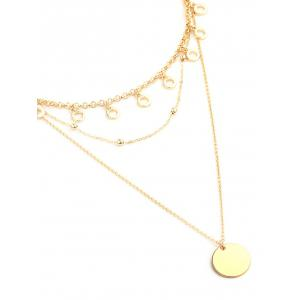 Alloy Circle Disc Layered Pendant Necklace -