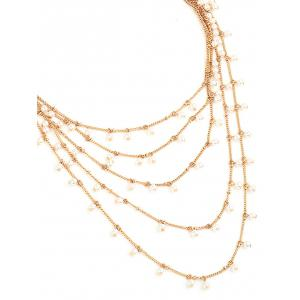 Bohemian Multilayered Artificial Pearl Chain Necklace -