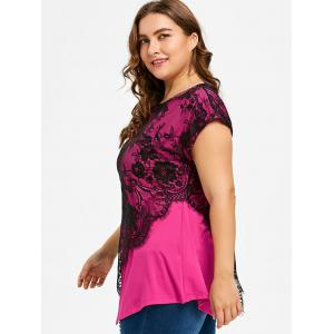 Plus Size Lace Overlay Asymmetrical T-shirt -