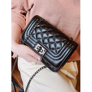 PU Leather Rhombic Lattice Pattern Vintage Crossbody Bag -