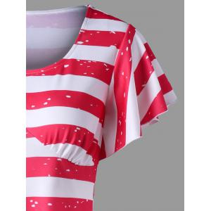 Empire Waist Asymmetrical American Flag Tee -