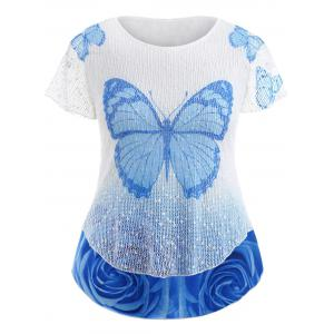Layered Butterfly Print Plus Size Casual Tee -