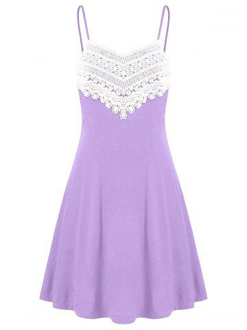 Latest Crochet Lace Panel Mini Slip Dress