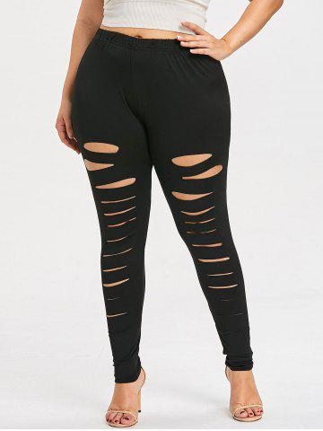 Unique Plus Size Ripped High Waisted Leggings