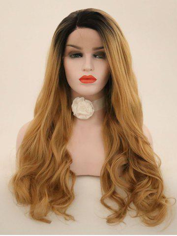 Long Side Sideing Colormix Wavy Lace Front perruque synthétique