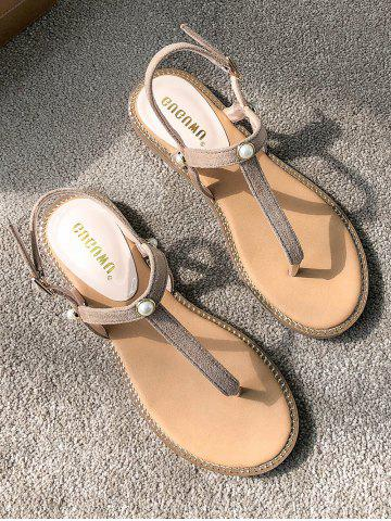 Outfits T Strap Flat Heel Faux Pearl Suede Sandals