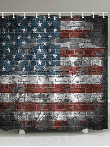 Chic American Flag Brick Wall Print Waterproof Bathroom Shower Curtain