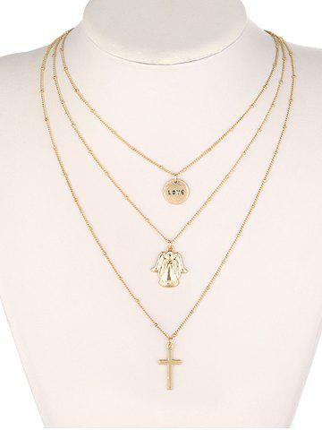 Store Alloy Angel Love Crucifix Layered Pendant Necklace