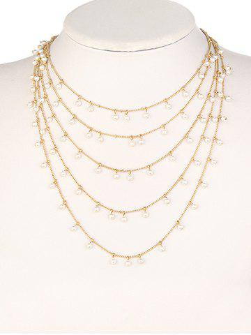 Hot Bohemian Multilayered Artificial Pearl Chain Necklace