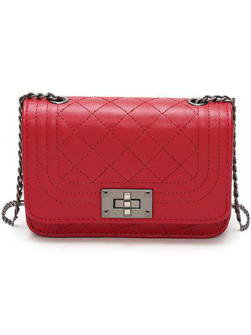Affordable PU Leather Rhombic Lattice Pattern Vintage Crossbody Bag
