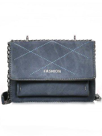 Discount Metal Chain Flap Stitches Crossbody Bag