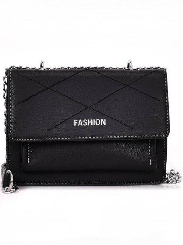 Outfits Metal Chain Flap Stitches Crossbody Bag