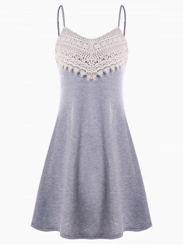 Sale Crochet Lace Panel Mini Slip Dress