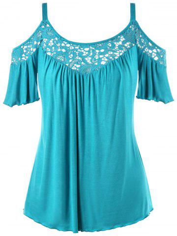 Cheap Cold Shoulder Plus Size Half Sleeve Blouse