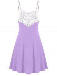 Crochet Lace Panel Mini Slip Dress -