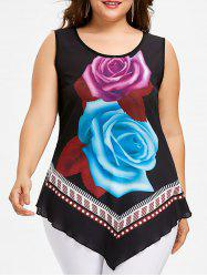Plus Size Rose Print Asymmetrical Tank Top -