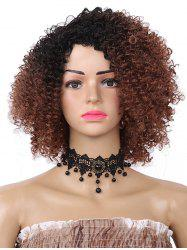 Short Side Bang Fluffy Colormix Curly Synthetic Wig -