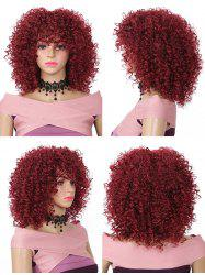 Medium Neat Bang Fluffy Kinky Curly Synthetic Wig -