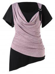 Plus Size Two Tone Asymmetric T-shirt -