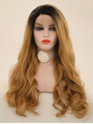 Long Side Sideing Colormix Wavy Lace Front perruque synthétique -