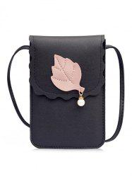 PU Leather Leaf and Pearl Embellished Mini Crossbody Phone Bag -