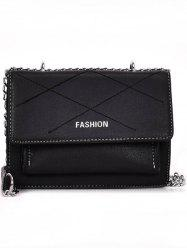 Metal Chain Flap Stitches Crossbody Bag -