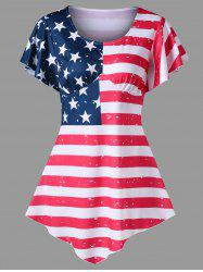 Asymmetrical Empire Waist Patriotic Tee -