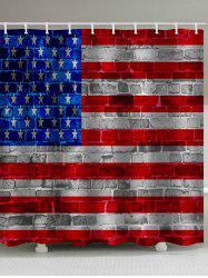 American Flag Brick Print Waterproof Bathroom Shower Curtain -