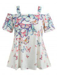 Cold Shoulder Plus Size Butterflies T-shirt -