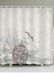 Ship Rudder Print Waterproof Bath Curtain -