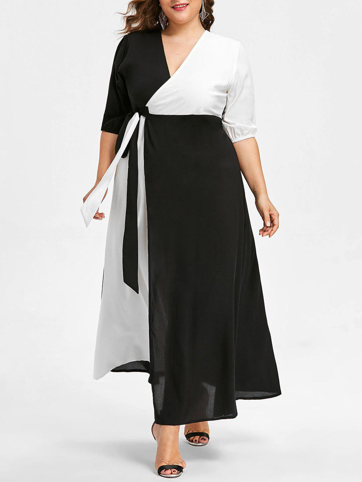 New Plus Size Two Tone Wrap Dress