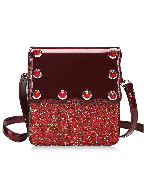 Unique Flap Glitters PU Leather Crossbody Bag