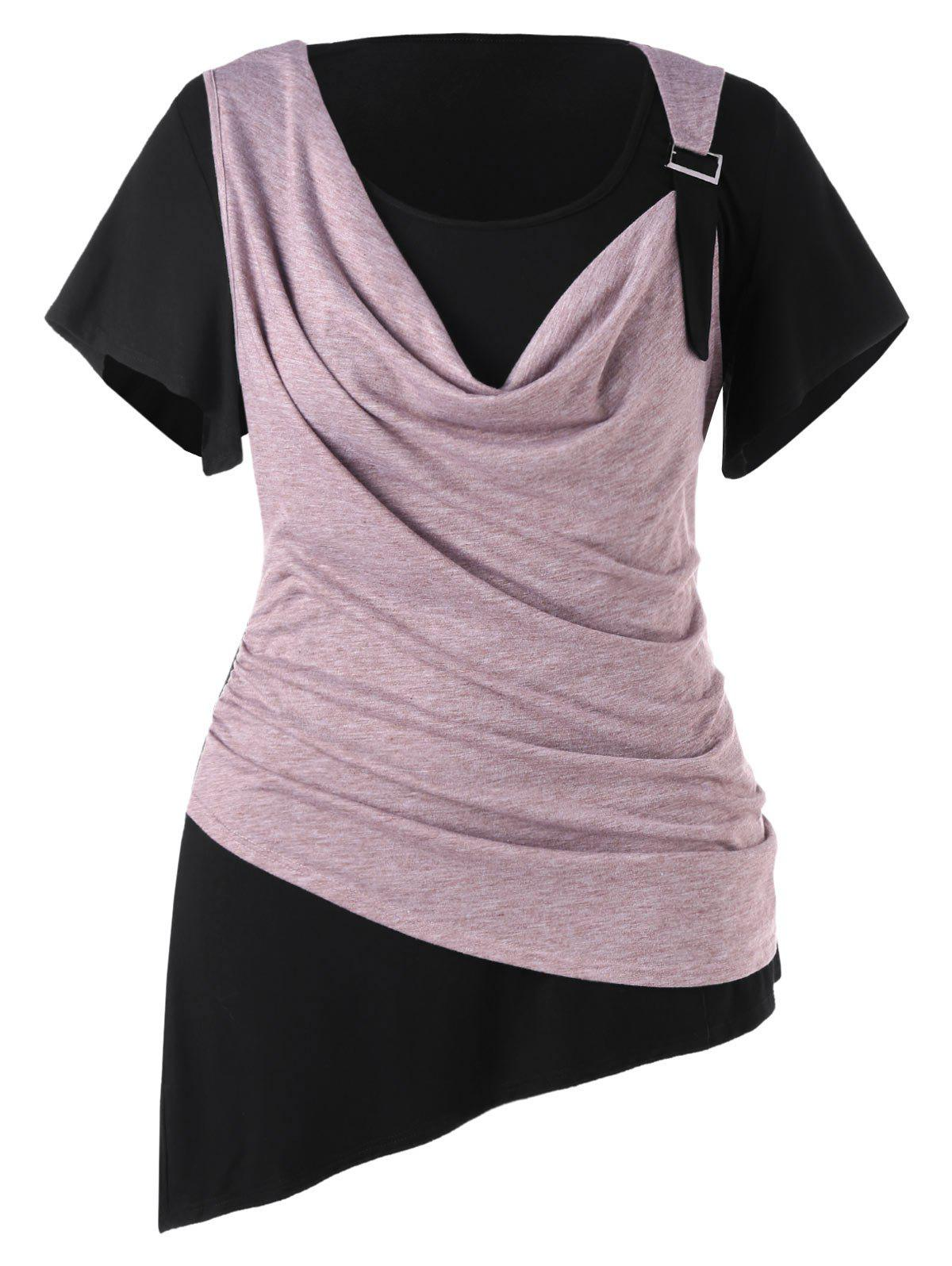 Outfits Plus Size Two Tone Asymmetric T-shirt