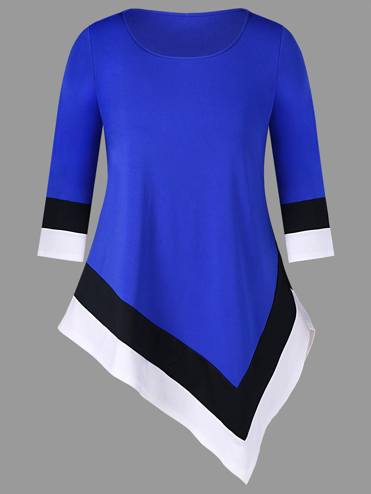 Trendy Color Trim Plus Size Asymmetrical T-shirt
