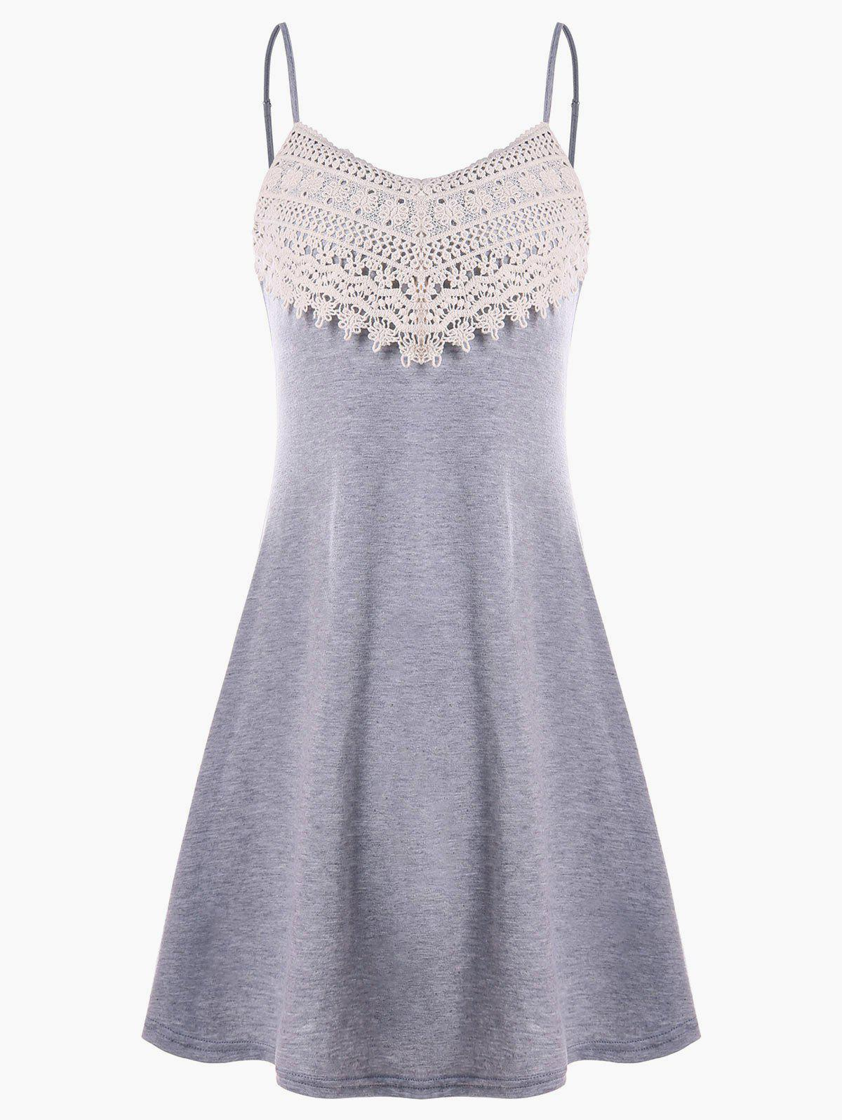 Online Crochet Lace Panel Mini Slip Dress