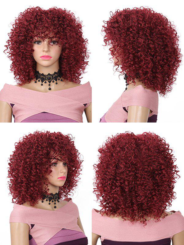Sale Medium Neat Bang Fluffy Kinky Curly Synthetic Wig