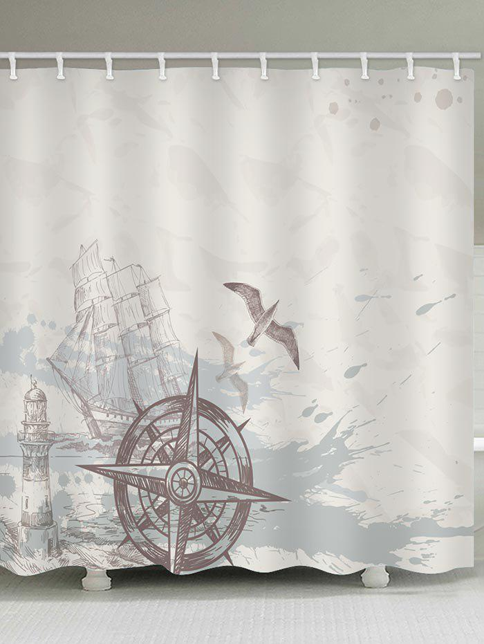 New Ship Rudder Print Waterproof Bath Curtain