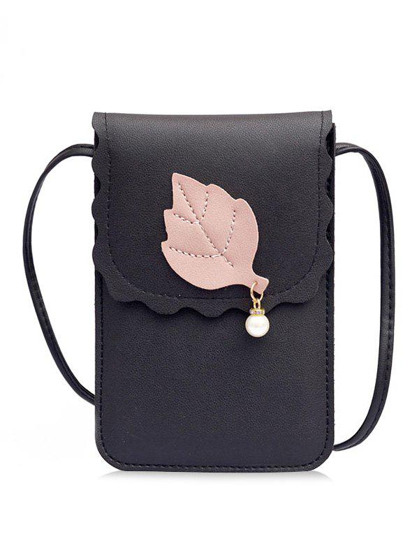 Store PU Leather Leaf and Pearl Embellished Mini Crossbody Phone Bag