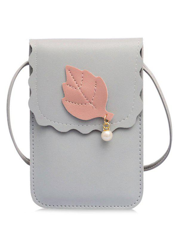 Affordable Pu Leather Leaf And Pearl Embellished Mini Crossbody Phone Bag