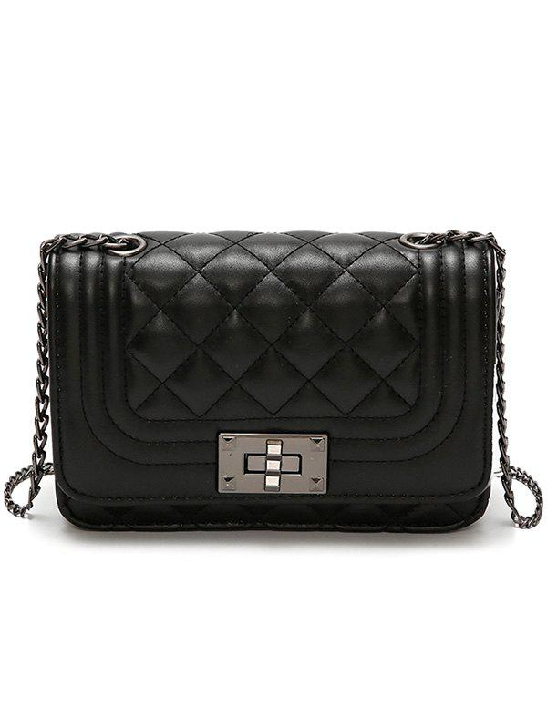 Trendy PU Leather Rhombic Lattice Pattern Vintage Crossbody Bag