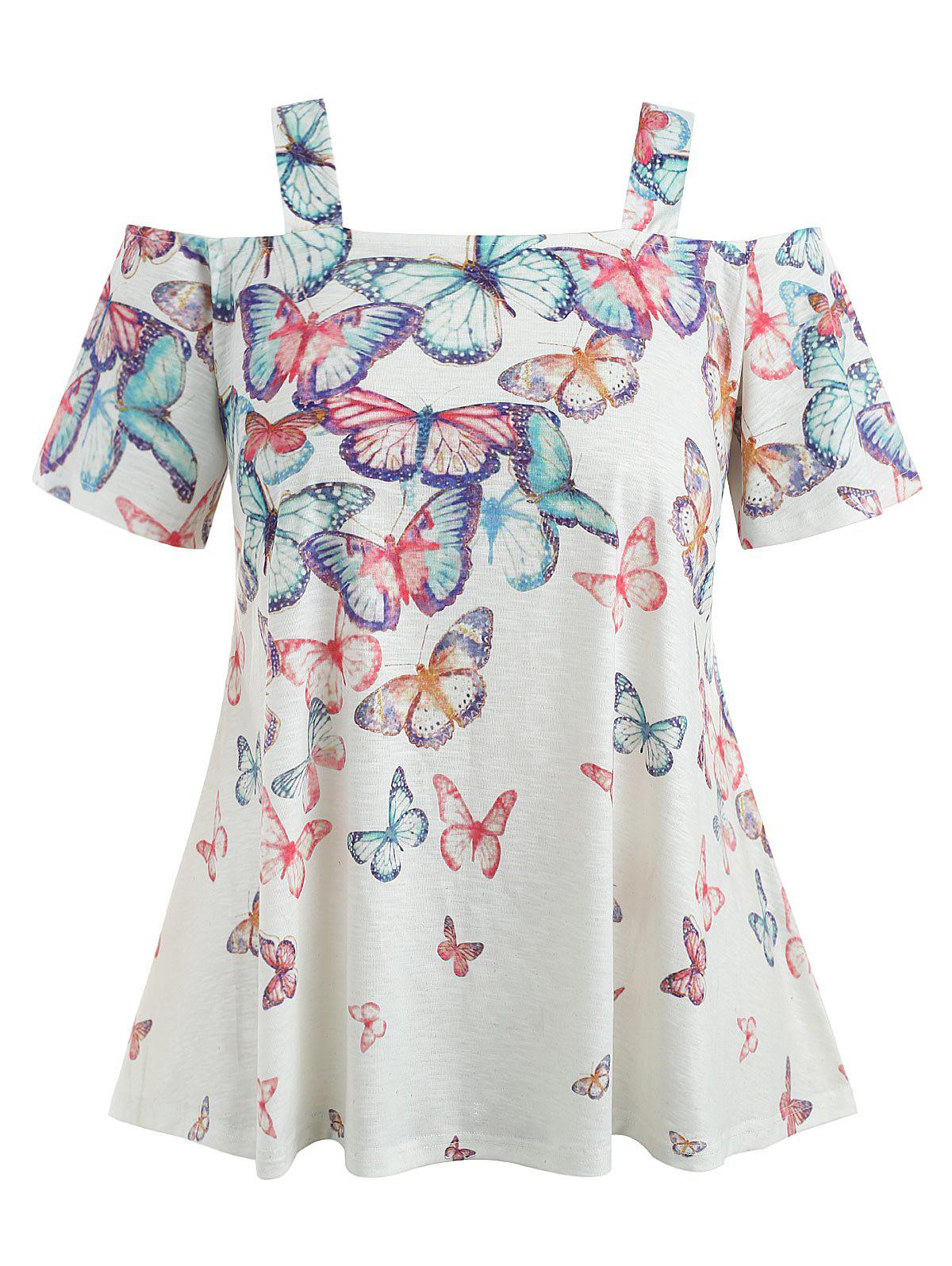 Latest Cold Shoulder Plus Size Butterflies T-shirt