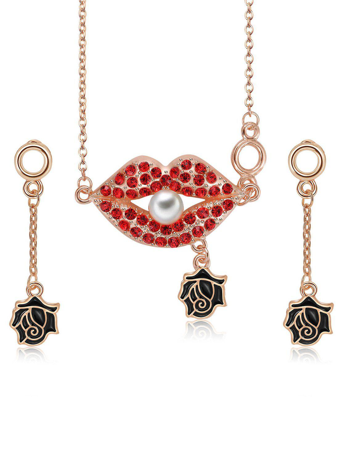 Best Faux Pearl Rhinestone Lips Flower Necklace with Earrings