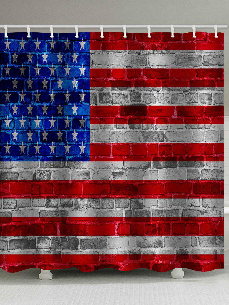 Cheap American Flag Brick Print Waterproof Bathroom Shower Curtain