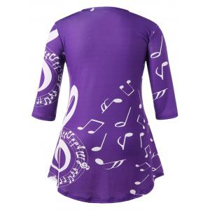 Plus Size Tunic Music Note Print T-shirt -