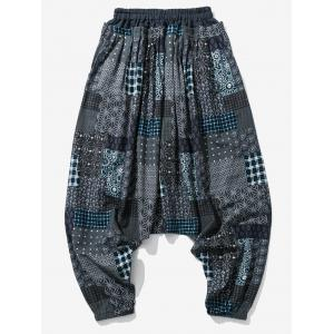 Cotton Linen Panel Printed Jogger Pants -